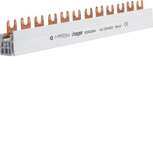 Шина штыревая 3-полюса на 12 модулей с изоляцией 10 мм2, hager