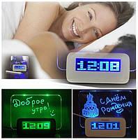 Часы Светящиеся LED будильник с доской для записей и маркером 4 USB хаб