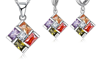 Комплект серебряных украшений из серебра 925 пробы, стерлинговое серебро, кубический цирконий код (0099)