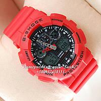 Неубиваемые спортивные наручные часы Casio G-shock GA-100 разных цветов Красный Черный Красный