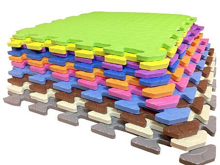 Мягкий коврик-пазл EVA SportMax 200х150 см, 12 элементов (с узором), фото 2