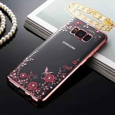 Гламурный роскошный силиконовый чехол для Samsung Galaxy J5 2016 J510 SM-J510H/DS Rose с камнями, фото 2