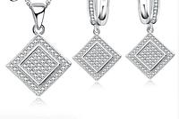 Комплект серебряных украшений из серебря 925 пробы, стерлинговое серебро, кубический цирконий, код (0100), фото 1