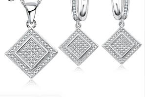 Комплект серебряных украшений из серебря 925 пробы, стерлинговое серебро, кубический цирконий, код (0100)
