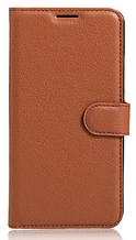 Кожаный чехол-книжка для Meizu Pro 7 коричневый