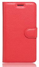 Кожаный чехол-книжка для Meizu Pro 7 красный