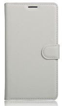 Кожаный чехол-книжка для Meizu Pro 7 белый