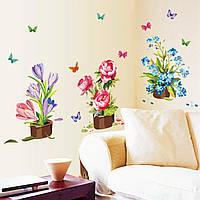 Декоративная виниловая наклейка на стену Горшки с цветами (8946790)