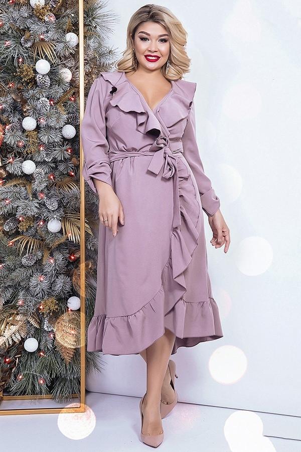 4931b8e21d693a5 Купить Шикарное длинное платье на запах с воланами (К25519) [...] в ...