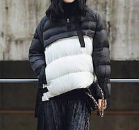 Тёплая женская куртка анорак с завязками, чёрно-белая