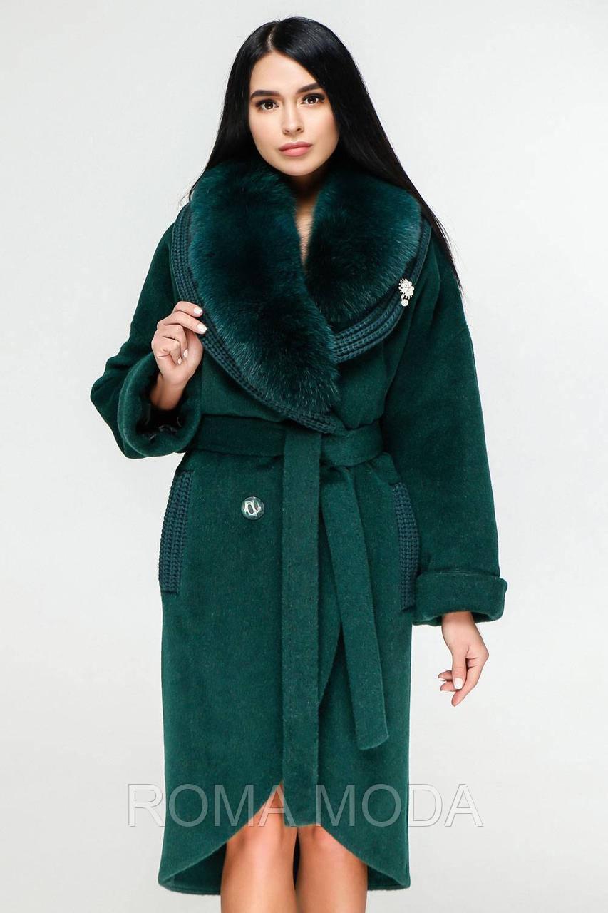 Красивое зимнее женское пальто с натуральным мехом П-1089 н/м Ibico