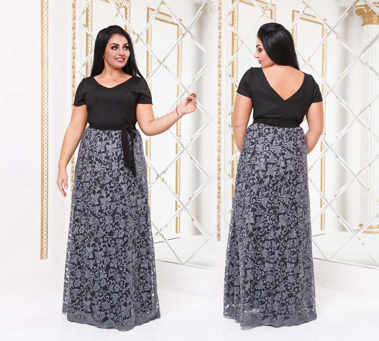 50e85ad6a190dc8 Женское длинное вечернее платье в больших размерах 15145