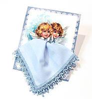 Носовой платок на подарок Ангелы ручной работы handmade голубой