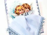 Носовой платок на подарок Ангелы ручной работы handmade голубой, фото 2