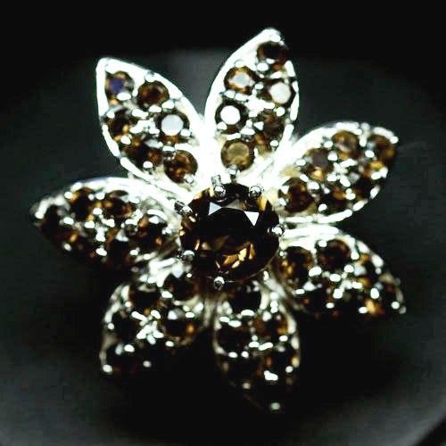 Крупное Кольцо-цветокс натуральным Дымчатым Кварцем (Раухтопазом)