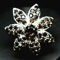 Крупное Кольцо-цветокс натуральным Дымчатым Кварцем (Раухтопазом), фото 1