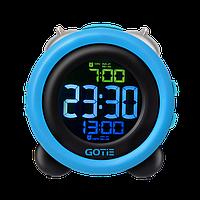 Электронный будильник GOTIE GBE-300N синий с механическим звонком