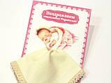 Носовой платок - сувенир новорожденной девочке молочный , фото 2