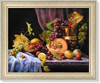 """Репродукция  современной картины """"Натюрморт с виноградом и тыквой"""""""