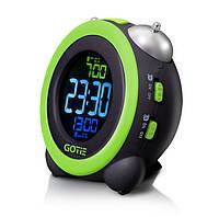Электронный будильник GOTIE GBE-300Z зеленый с механическим звонком