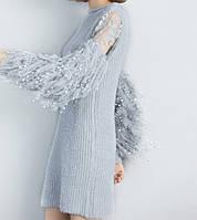 Вязаное женское платье с кружевом и кисточками на рукавах, one size