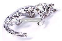 Модная серьга Кот с длинным хвостом, носится в одном ухе, цвет - серебро