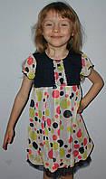 Платье шифоновое 2-5лет горошки синее