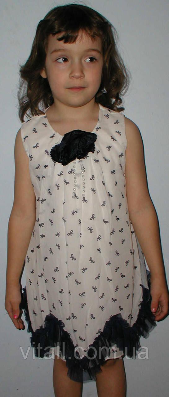 Платье шифоновое 6-10лет хвостики синее