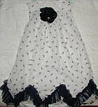 Платье шифоновое 6-10лет хвостики синее, фото 2
