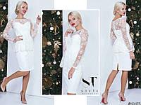 Белоснежное элегантное женское платье с накидкой из вышитого гипюра. Арт - 7658/65