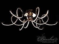 Современная стильная светодиодная люстра  8663-6 (хром,золото)
