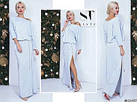 Світло-блакитне жіноче видовжене трикотажне плаття з люрексом зі знімним поясом. Арт-7659/65