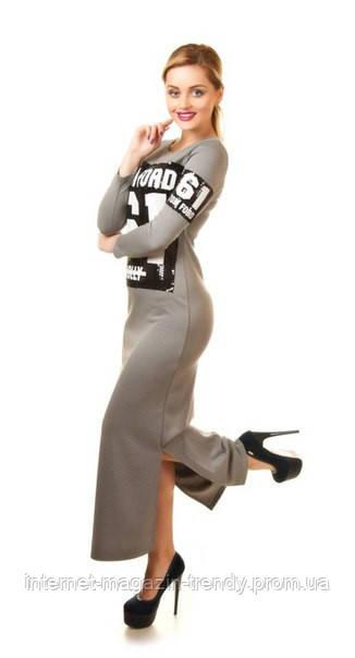 """Платье макси из трикотажа с разрезами по бокам 102 - Интернет-магазин """"TRENDY""""  в Одессе"""