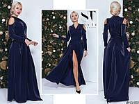 Темно-синее женское нарядное трикотажное платье с люрексом на запах. Арт-7660/65