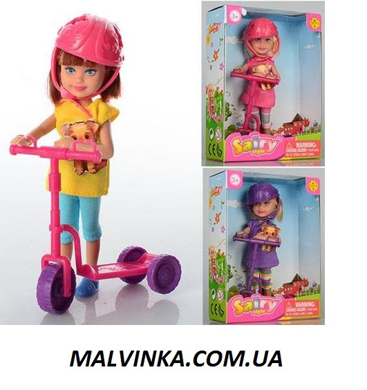 Кукла DEFA 8294 13, 5см, самокат 8-8-3см, в коробке.