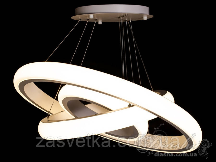 Современная светодиодная люстра 170 ват 8102-700+500+350 диммер (белая)