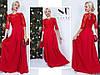 Нарядное красное женское трикотажное удлиненное платье верх из гипюра. Арт-7662/65