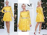 Нарядное желтое женское гипюровое платье со съемным поясом отделанный стразами. Арт - 7663/65