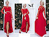 Красное нарядное трикотажное платье со вставками из вышитого гипюра с поясом из страз. Арт - 7664/65