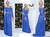 Синее нарядное женское гипюровое удлиненное платье декорировано камнями пояс. Арт-7664/65