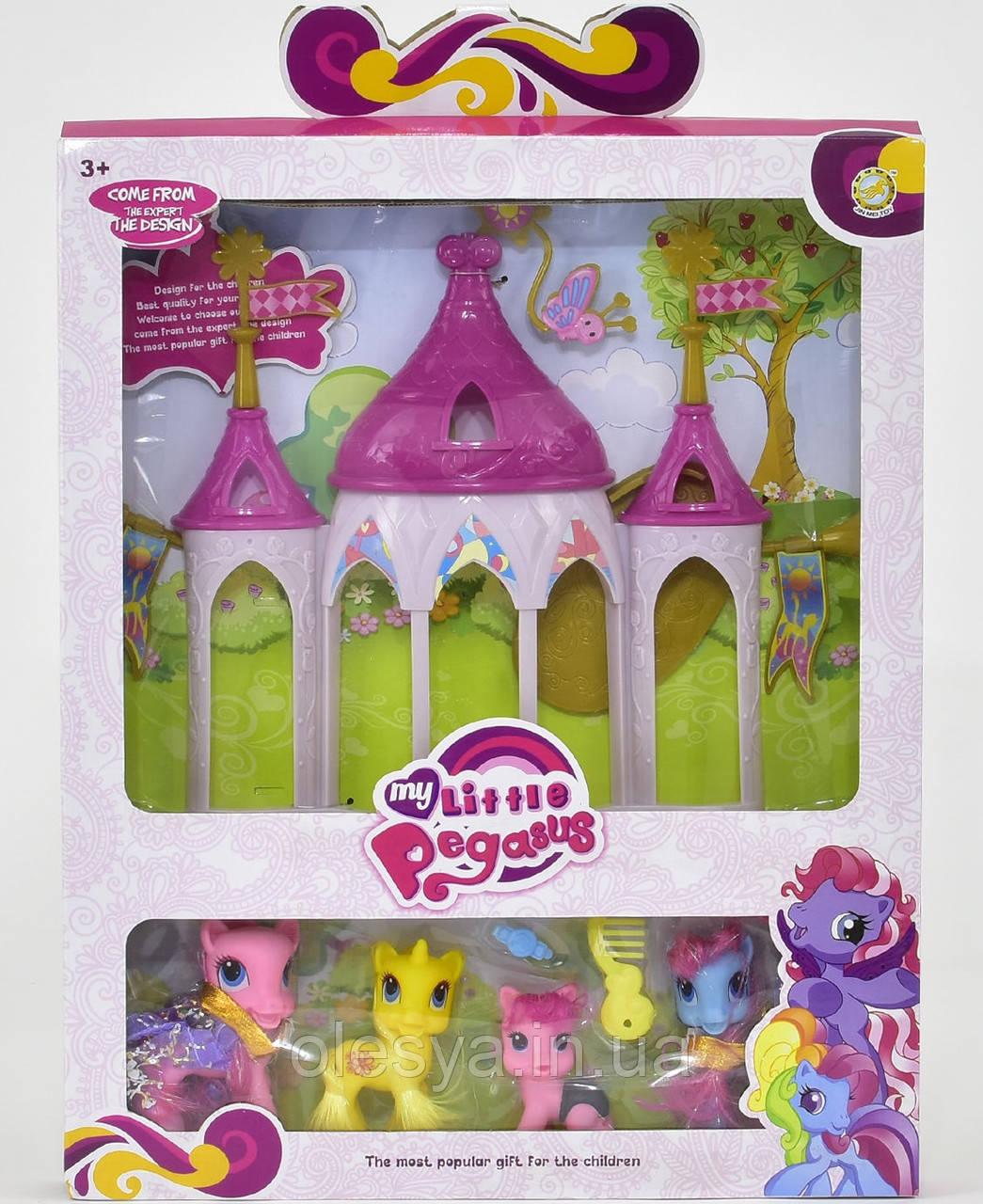Сказочный замок для пони My Little Pony- 4 лошадки, аксессуары