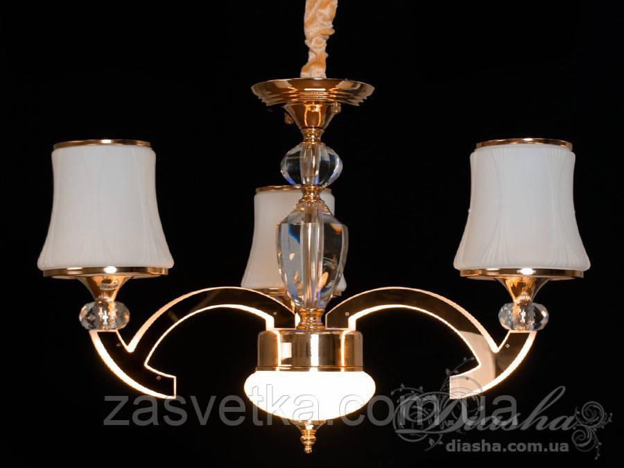 Классическая люстра со светящимися рожками 8341/3 хром,золото