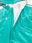 Комбинезон-человечек  велюровый демисезонный Мятный, фото 3