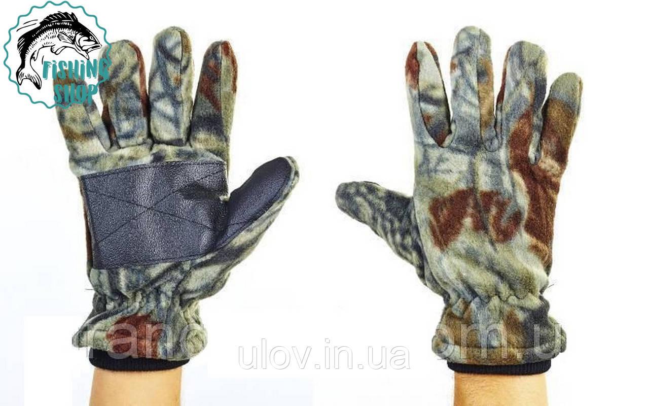Перчатки двойной флис тактические (лес микс)