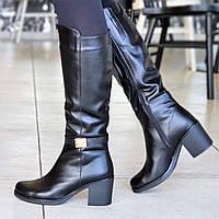 Женские зимние сапоги сапожки на широком каблуке черные кожаные на меху элегантные (Код: 1309), фото 1