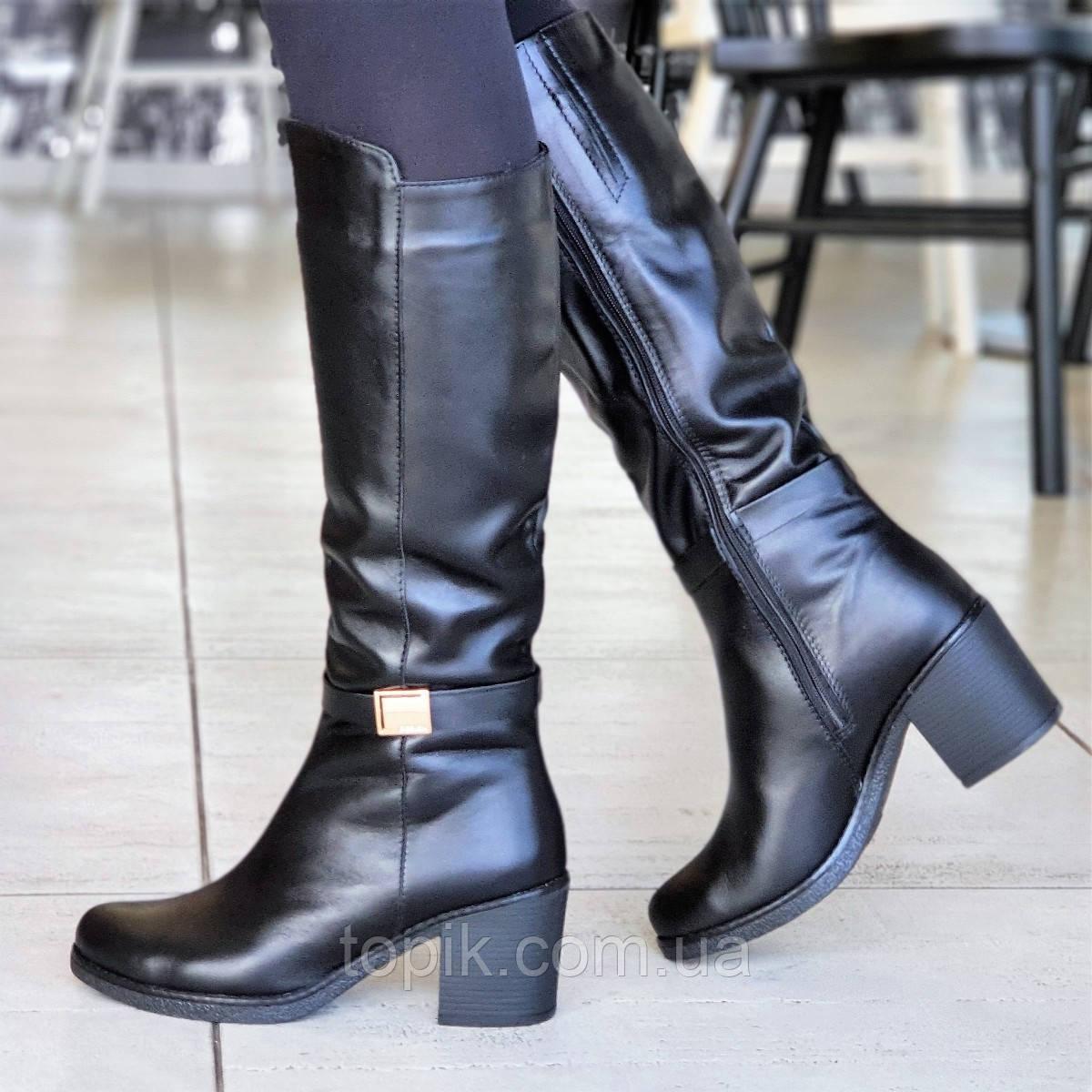 Женские зимние сапоги сапожки на широком каблуке черные кожаные на меху элегантные (Код: 1309)