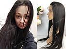 Парик на сетке 360 с имитацией кожи. Чёрный, натуральный., фото 2