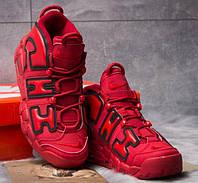 1d7e4fac Мужские кроссовки Nike More Uptempo, демисезонные, замша, красные, Найк 2018