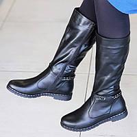 Женские зимние сапоги на низком каблуке кожаные черные удобная колодка мягкая подошва (Код: 1310)