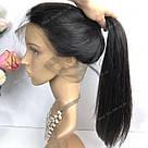 Натуральный парик, черный длинный волос, на сетке 360, имитация кожи головы, фото 2